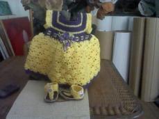 Purple and Yellow crochet baby dress