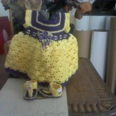 Purple and Yellow crochet​ baby dress